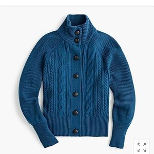 J crew balloon sleeve cable knit cardigan